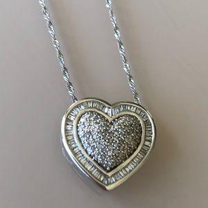 14K White Gold & Diamond Heart Necklace + chain